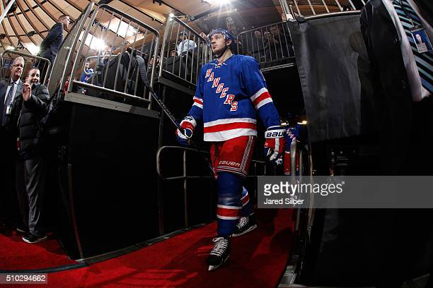 Kevin Hayes of the New York Rangers takes the ice prior to warmups before the game against the New Jersey Devils at Madison Square Garden on February...