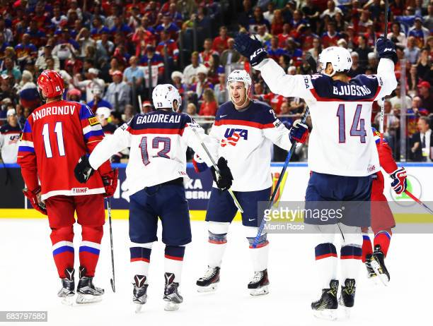 Kevin Hayes of the USA is congratulated after scoring the third goal during the Russia v USA 2017 IIHF Ice Hockey World Championship match at Lanxess...