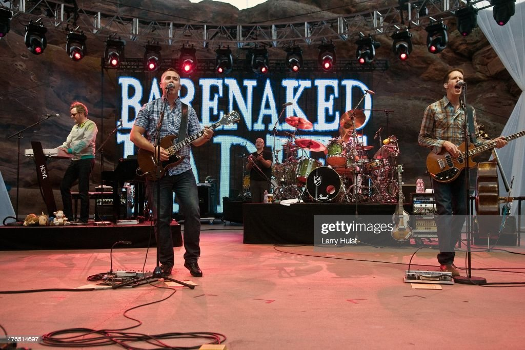 Kevin Hearn Ed Robertson Tyler Stewart and Jim Creeggan playing with 'Barenaked Ladies' ' performing at Red Rocks Amplitaheater in Morrison Colorado...