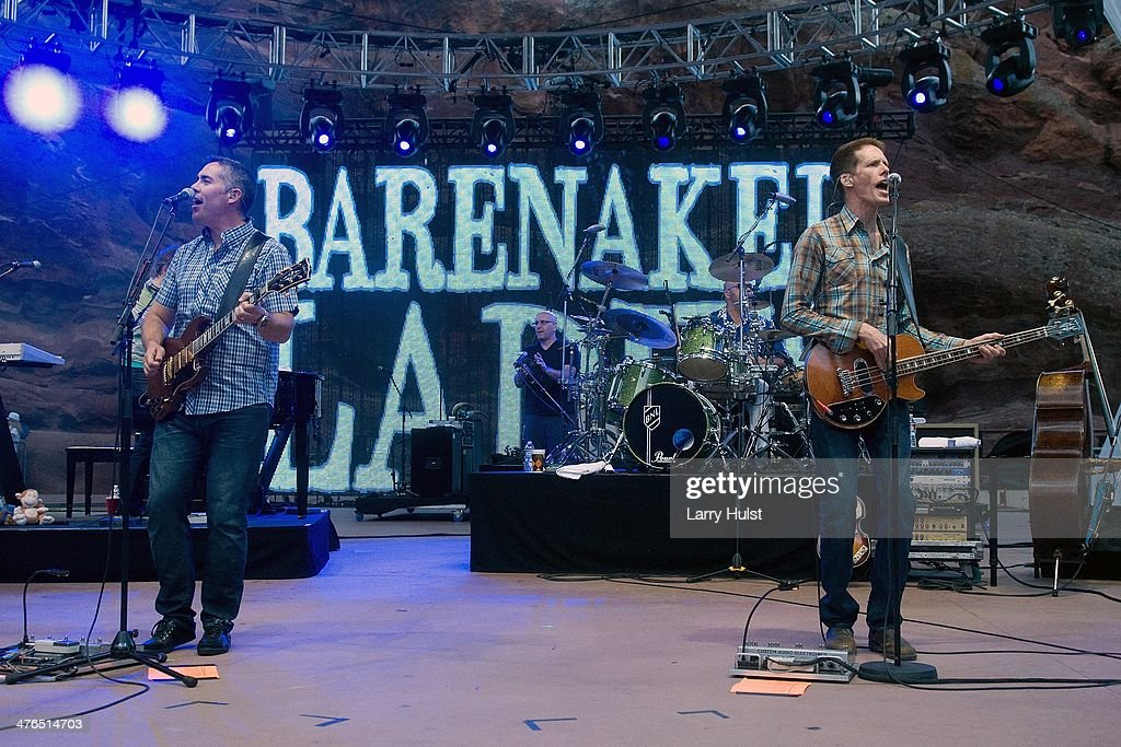 Kevin Hearn Ed Robertson Tyler Stewart and Jim Creeggan playing with 'Barenaked Ladies' ' performing at Red Rocks Amphitheatre in Morrison Colorado...