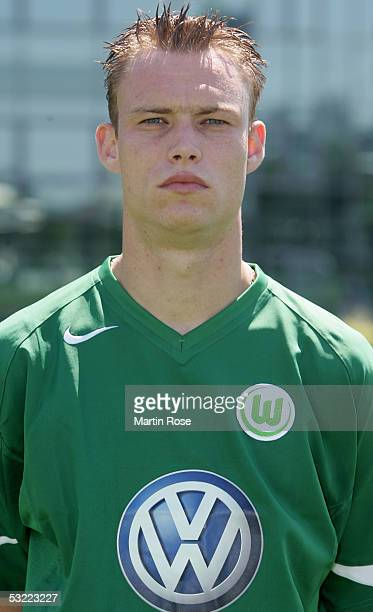 Kevin Hofland poses during the team presentation of VFL Wolfsburg for the Bundesliga Season 2005 2006 on July 10 2005 in Wolfsburg Germany