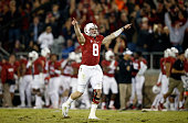 Kevin Hogan of the Stanford Cardinal celebrates after he threw a touchdown pass to Christian McCaffrey during their game against the California...