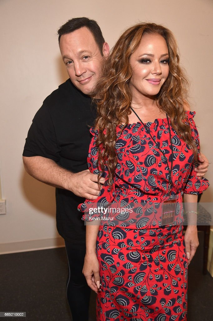 Kevin James and Leah Remini backstage before Billy Joel perfoms at the newly rennovated Nassau Coliseum, Long Island on April 5, 2017 in New York City.