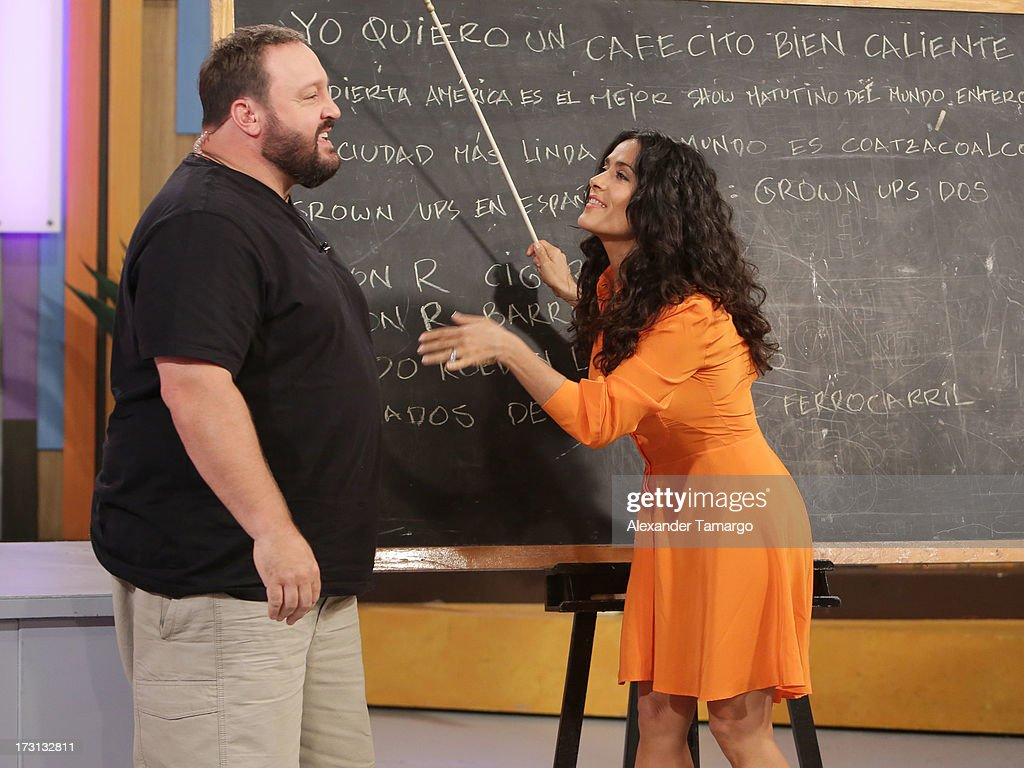 Kevin James and <a gi-track='captionPersonalityLinkClicked' href=/galleries/search?phrase=Salma+Hayek&family=editorial&specificpeople=201844 ng-click='$event.stopPropagation()'>Salma Hayek</a> of 'Grown Ups 2' cast appears on Univision's 'Despierta America' to promote the movie at Univision Headquarters on July 8, 2013 in Miami, Florida.