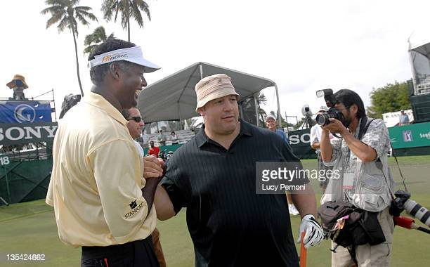 Kevin James and Vijay Singh during 2007 Sony Open ProAm January 10 2007 at Waialae Country Club in Honolulu Hawaii United States