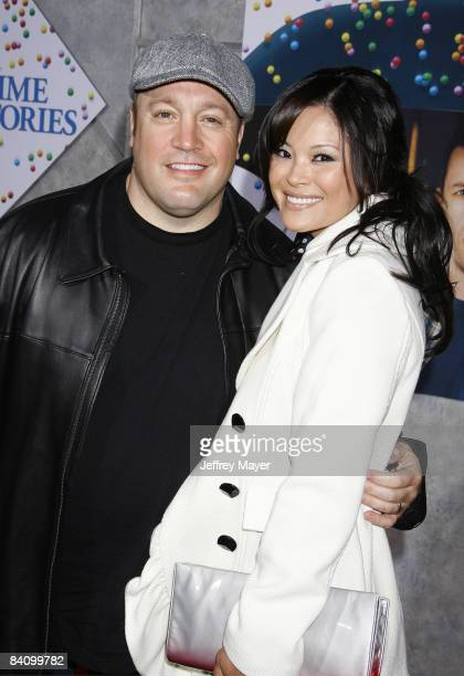 Kevin James and wife Steffiana De La Cruz arrive at the Los Angeles premiere of 'Bedtime Stories' at the El Capitan Theatre on December 18 2008 in...
