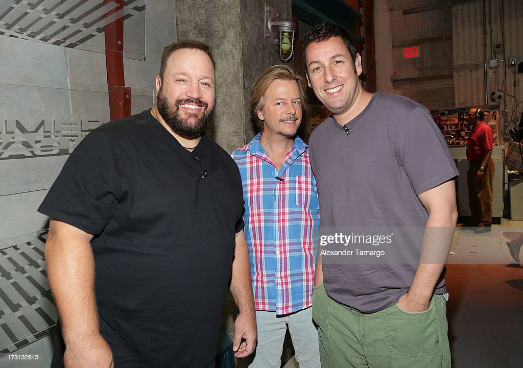 Kevin James, <a gi-track='captionPersonalityLinkClicked' href=/galleries/search?phrase=David+Spade&family=editorial&specificpeople=209074 ng-click='$event.stopPropagation()'>David Spade</a> and <a gi-track='captionPersonalityLinkClicked' href=/galleries/search?phrase=Adam+Sandler&family=editorial&specificpeople=202205 ng-click='$event.stopPropagation()'>Adam Sandler</a> of 'Grown Ups 2' cast appears on Univision's 'Despierta America' to promote the movie at Univision Headquarters on July 8, 2013 in Miami, Florida.