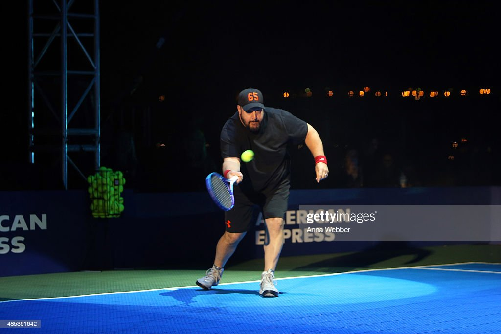 Kevin James plays tennis at Rally On The River presented by American Express, featuring Maria Sharapova, John Isner, Monica Puig and DJ Set By CHROMEO at Pier 97 on August 26, 2015 in New York City.