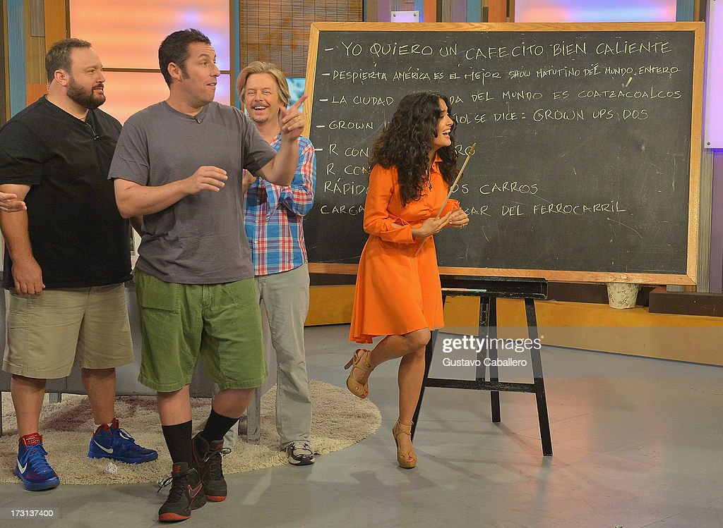 Kevin James,<a gi-track='captionPersonalityLinkClicked' href=/galleries/search?phrase=David+Spade&family=editorial&specificpeople=209074 ng-click='$event.stopPropagation()'>David Spade</a>,<a gi-track='captionPersonalityLinkClicked' href=/galleries/search?phrase=Salma+Hayek&family=editorial&specificpeople=201844 ng-click='$event.stopPropagation()'>Salma Hayek</a> and <a gi-track='captionPersonalityLinkClicked' href=/galleries/search?phrase=Adam+Sandler&family=editorial&specificpeople=202205 ng-click='$event.stopPropagation()'>Adam Sandler</a> of 'Grown Ups 2' cast appears on Univisions 'Despierta America' to promote the movie at Univision Headquarters on July 8, 2013 in Miami, Florida.