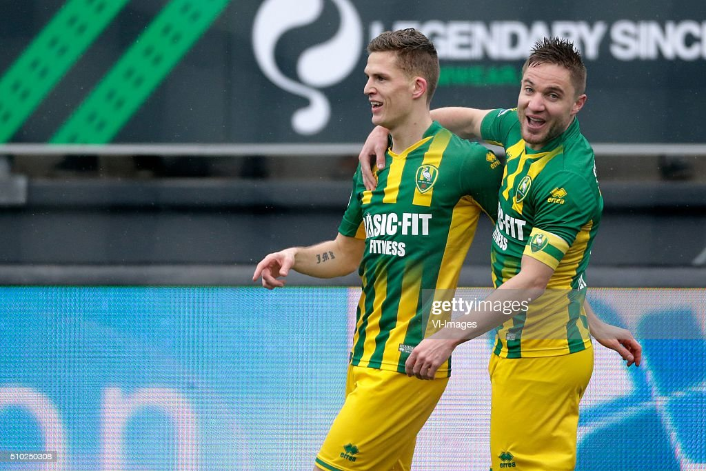 Kevin Jansen of ADO Den Haag, Aaron Meijers of ADO Den Haag during the Dutch Eredivisie match between Excelsior Rotterdam and ADO Den Haag at Woudenstein stadium on February 14, 2016 in Rotterdam, The Netherlands
