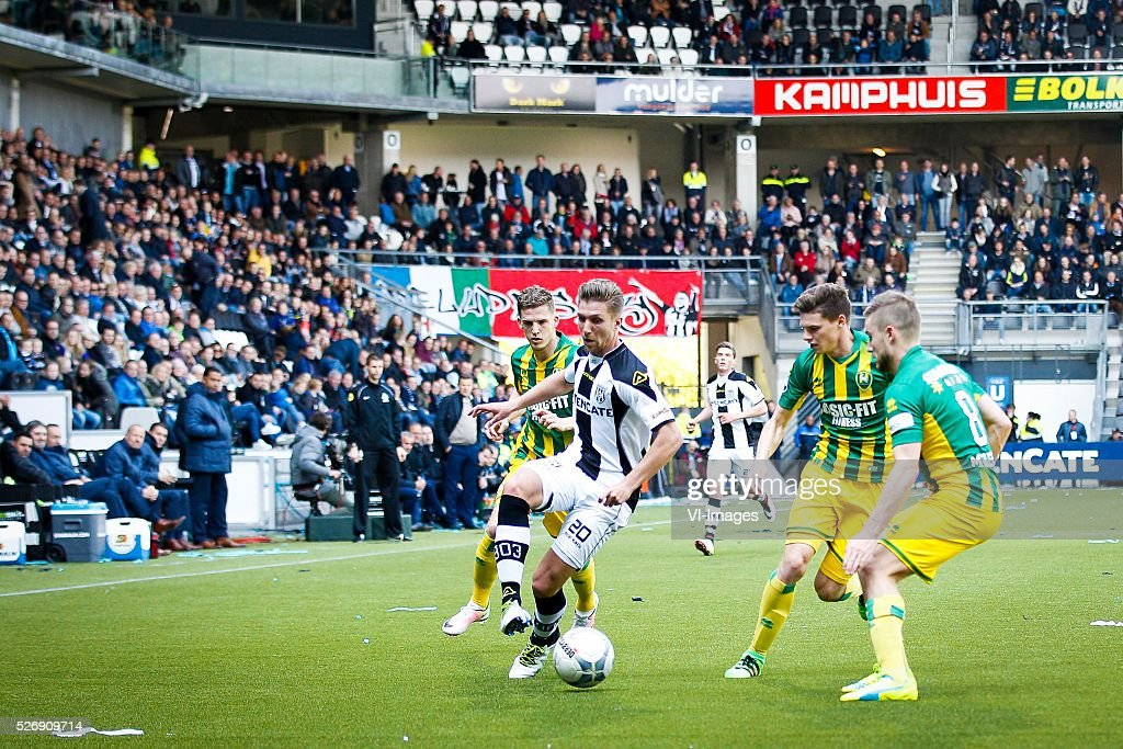 Kevin Jansen of ADO Den Haag, Peter van Ooijen of Heracles Almelo, Danny Bakker of ADO Den Haag, Aaron Meijers of ADO Den Haag during the Dutch Eredivisie match between Heracles Almelo and ADO Den Haag at Polman stadium on May 01, 2016 in Almelo, The Netherlands