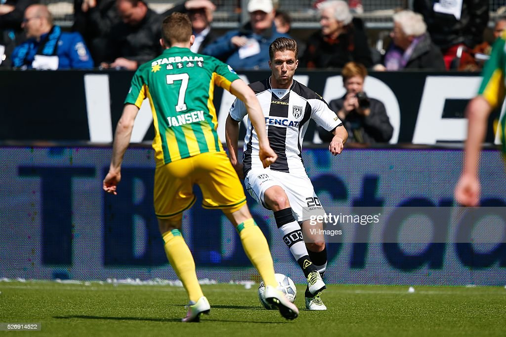 Kevin Jansen of ADO Den Haag, Peter van Ooijen of Heracles Almelo during the Dutch Eredivisie match between Heracles Almelo and ADO Den Haag at Polman stadium on May 01, 2016 in Almelo, The Netherlands