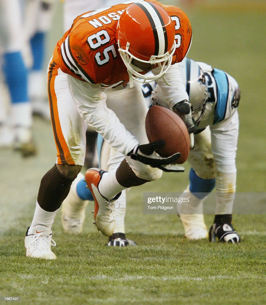 Kevin Johnson #85 of the Cleveland Browns picks up what he thought was a fumble by Reggie Howard #23 of the Carolina Panthers and takes it into the end zone on December 1, 2002 at Browns Stadium in Cleveland, Ohio. The play would have tied the game late in the fourth quarter but officials ruled that the ball was not a fumble. Carolina won the game 13-6.