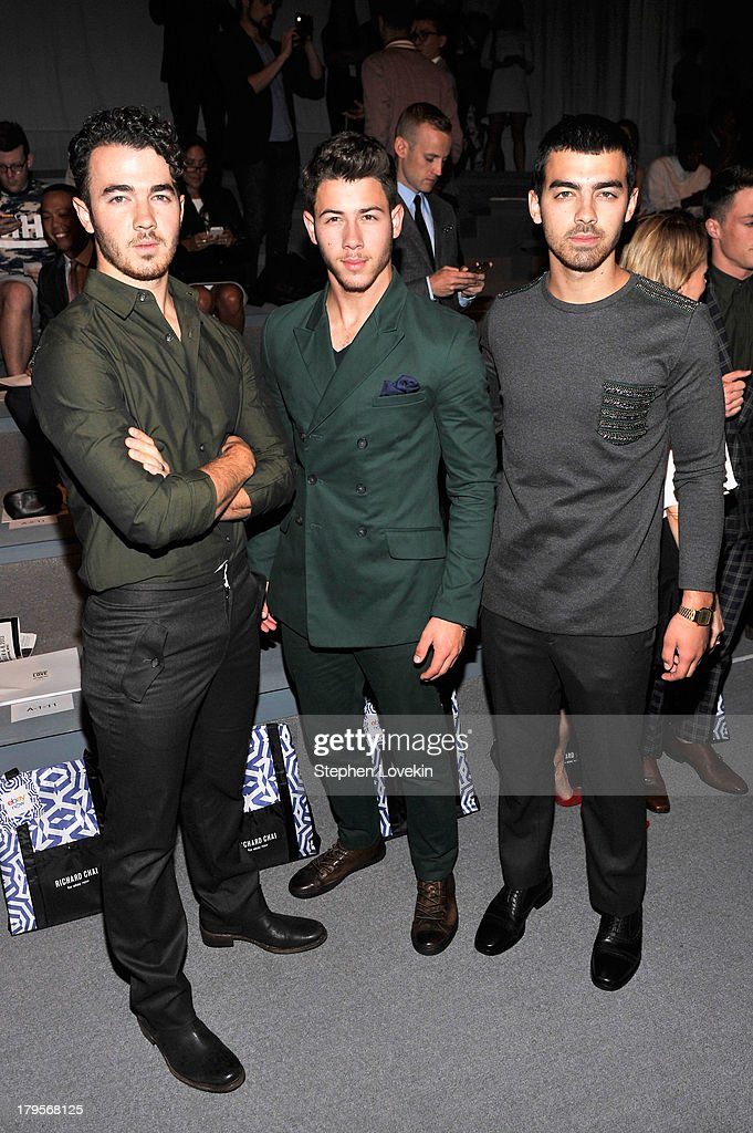 <a gi-track='captionPersonalityLinkClicked' href=/galleries/search?phrase=Kevin+Jonas&family=editorial&specificpeople=709547 ng-click='$event.stopPropagation()'>Kevin Jonas</a>, <a gi-track='captionPersonalityLinkClicked' href=/galleries/search?phrase=Nick+Jonas&family=editorial&specificpeople=842713 ng-click='$event.stopPropagation()'>Nick Jonas</a> and <a gi-track='captionPersonalityLinkClicked' href=/galleries/search?phrase=Joe+Jonas&family=editorial&specificpeople=842712 ng-click='$event.stopPropagation()'>Joe Jonas</a> attend the Richard Chai Spring 2014 fashion show during Mercedes-Benz Fashion Week at The Stage at Lincoln Center on September 5, 2013 in New York City.