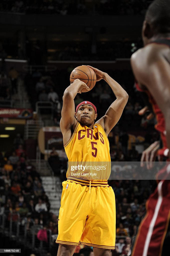 Kevin Jones #5 of the Cleveland Cavaliers goes up for the shot against the Miami Heat at The Quicken Loans Arena on April 15, 2013 in Cleveland, Ohio.