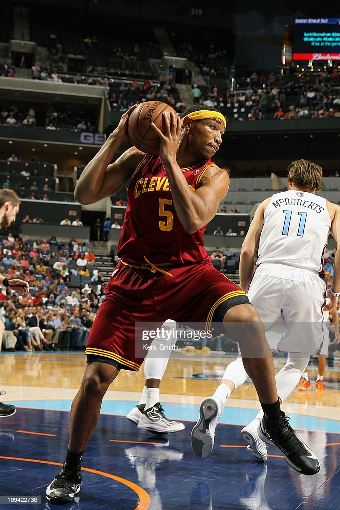 Kevin Jones #5 of the Cleveland Cavaliers grabs a rebound against the Charlotte Bobcats at the Time Warner Cable Arena on April 17, 2013 in Charlotte, North Carolina.