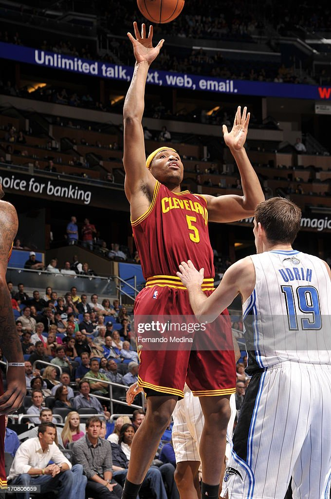 Kevin Jones #5 of the Cleveland Cavaliers shoots against the Orlando Magic on February 23, 2013 at Amway Center in Orlando, Florida.