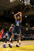 Kevin Jones of the Futures rebounds against the Prospects during the NBA DLeague AllStar Game at Sprint Arena as part of 2014 NBA AllStar Weekend at...