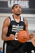 Kevin Jones of the Milwaukee Bucks attempts a free throw against the New Orleans Pelicans on July 10 2015 at Cox Pavilion in Las Vegas Nevada NOTE TO...