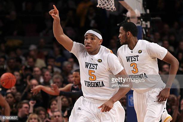 Kevin Jones of the West Virginia Mountaineers reacts after a play against the Georgetown Hoyas during the championship of the 2010 NCAA Big East...