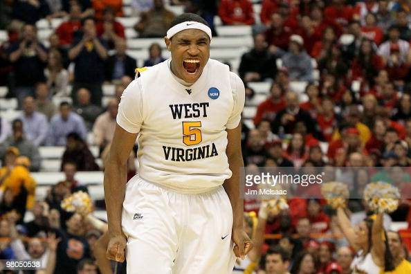 Kevin Jones of the West Virginia Mountaineers reacts in the second half against the Washington Huskies during the east regional semifinal of the 2010...
