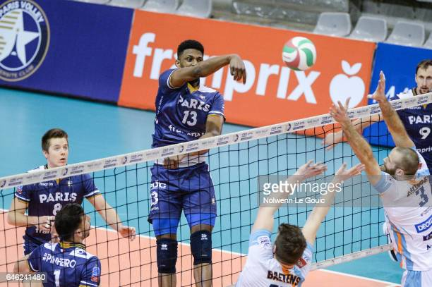 Kevin Kaba of Paris during the volleyball Ligue A match between Paris Volley and Nantes Reze at Salle Pierre Charpy on February 23 2017 in Paris...