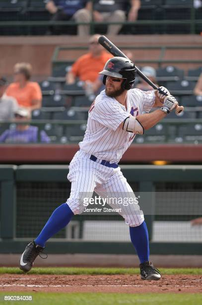 Kevin Kaczmarski of Scottsdale Scorpions stands at bat against the Surprise Saguaros in the Arizona Fall League game at Scottsdale Stadium on...