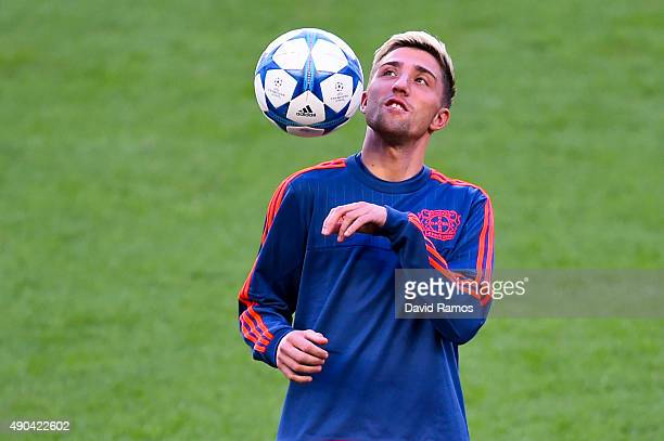 Kevin Kampl of Bayer 04 Leverkusen juggles the ball during a training session ahead of a UEFA Champions League Group E match against FC Barcelona at...