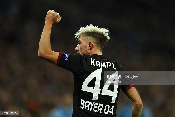 Kevin Kampl of Bayer Leverkusen celebrates scoring his sides first goal during the UEFA Champions League Group E match between Tottenham Hotspur FC...