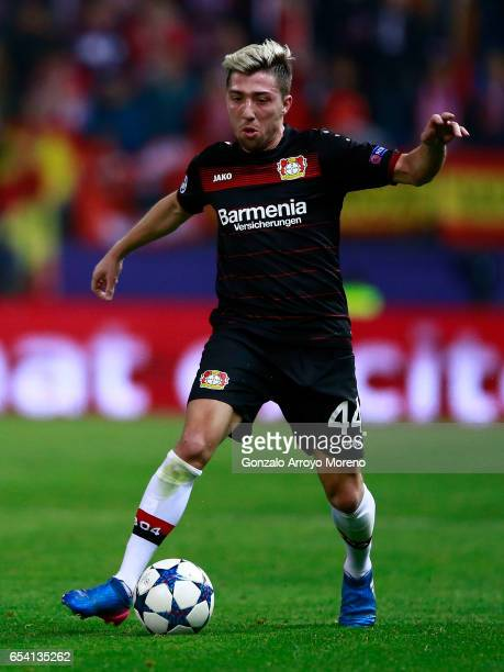 Kevin Kampl of Bayer Leverkusen controls the ball during the UEFA Champions League Round of 16 second leg match between Club Atletico de Madrid and...