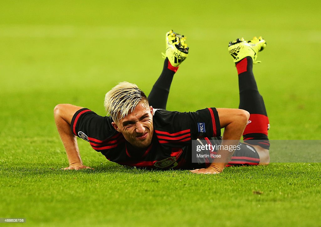 <a gi-track='captionPersonalityLinkClicked' href=/galleries/search?phrase=Kevin+Kampl&family=editorial&specificpeople=6527116 ng-click='$event.stopPropagation()'>Kevin Kampl</a> of Bayer Leverkusen grimaces during the UEFA Champions League Group E match between Bayer 04 Leverkusen and FC BATE Borisov at BayArena on September 16, 2015 in Leverkusen, Germany.