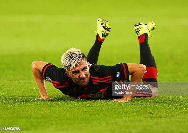 Kevin Kampl of Bayer Leverkusen grimaces during the UEFA Champions League Group E match between Bayer 04 Leverkusen and FC BATE Borisov at BayArena...
