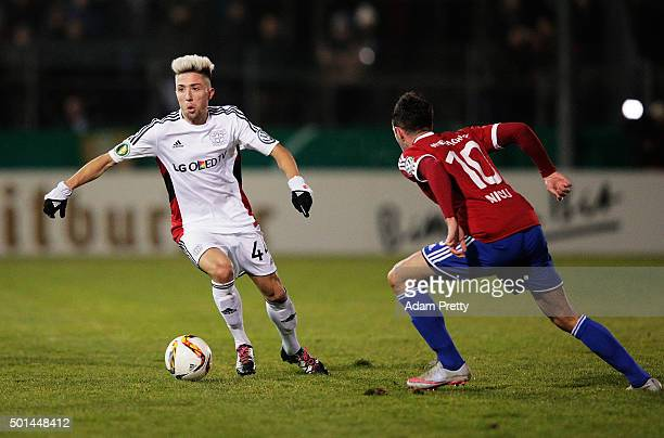 Kevin Kampl of Bayer Leverkusen in action during the DFB Cup match between SpVgg Unterhaching and Bayer Leverkusen at Alpenbauer Sportpark on...