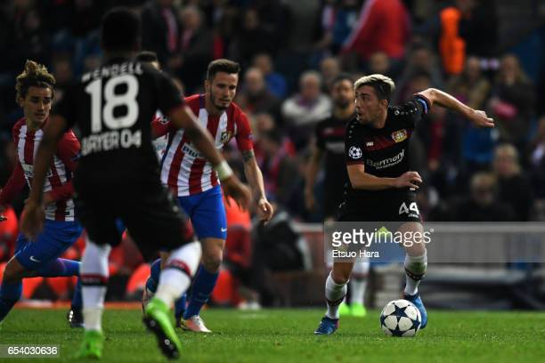 Kevin Kampl of Bayer Leverkusen in action during the UEFA Champions League Round of 16 second leg match between Club Atletico de Madrid and Bayer...