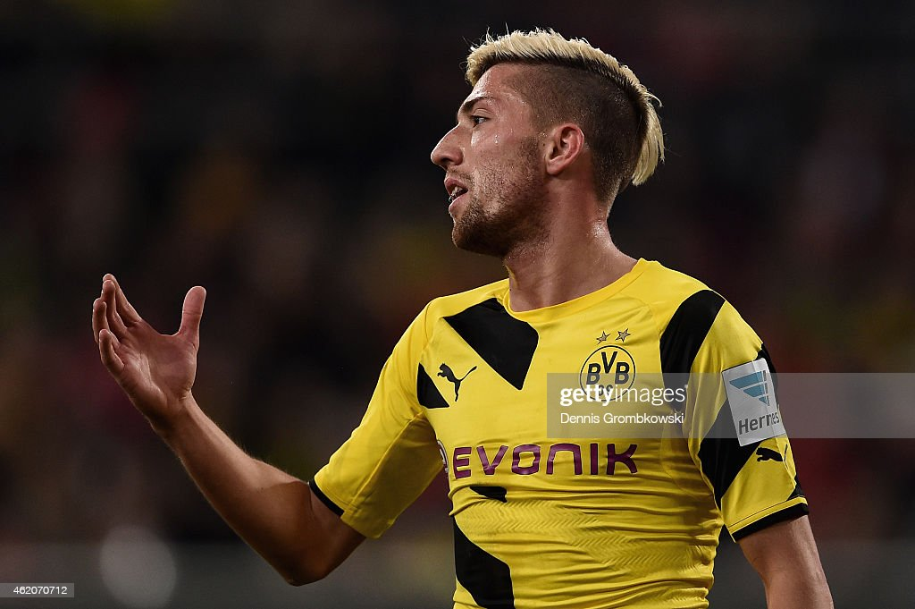 <a gi-track='captionPersonalityLinkClicked' href=/galleries/search?phrase=Kevin+Kampl&family=editorial&specificpeople=6527116 ng-click='$event.stopPropagation()'>Kevin Kampl</a> of Borussia Dortmund despairs after missing a chance at goal during the friendly match between Fortuna Duesseldorf and Borussia Dortmund at Esprit-Arena on January 24, 2015 in Duesseldorf, Germany.