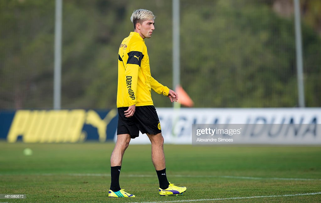 <a gi-track='captionPersonalityLinkClicked' href=/galleries/search?phrase=Kevin+Kampl&family=editorial&specificpeople=6527116 ng-click='$event.stopPropagation()'>Kevin Kampl</a> of Borussia Dortmund during a training session at Borussia Dortmund training ground on January 15, 2015 in LaManga, Spain.