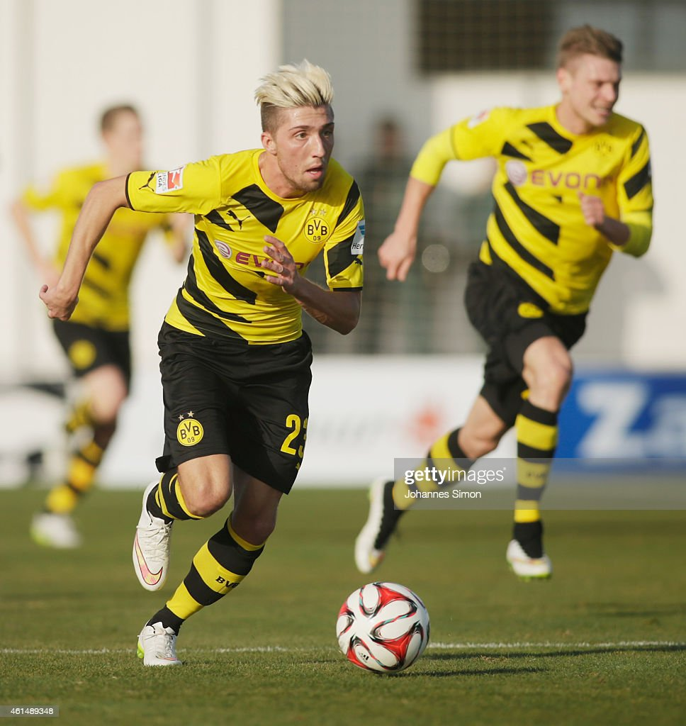 <a gi-track='captionPersonalityLinkClicked' href=/galleries/search?phrase=Kevin+Kampl&family=editorial&specificpeople=6527116 ng-click='$event.stopPropagation()'>Kevin Kampl</a> (C) of Dortmund in action during a friendly match between Borussia Dortmund and FC Sion during day 4 of Borussia Dortmund training camp on January 13, 2015 in La Manga, Spain.