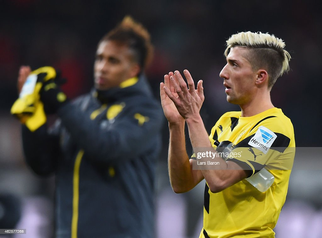 <a gi-track='captionPersonalityLinkClicked' href=/galleries/search?phrase=Kevin+Kampl&family=editorial&specificpeople=6527116 ng-click='$event.stopPropagation()'>Kevin Kampl</a> of Dortmund reacts after the Bundesliga match between Bayer 04 Leverkusen and Borussia Dortmund at BayArena on January 31, 2015 in Leverkusen, Germany.