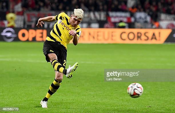 Kevin Kampl of Dortmund shoots on goal during the Bundesliga match between Bayer 04 Leverkusen and Borussia Dortmund at BayArena on January 31 2015...