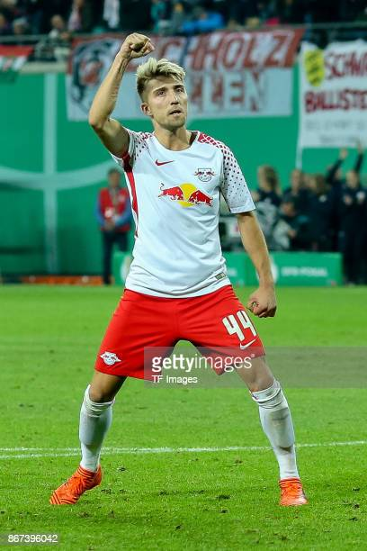 Kevin Kampl of Leipzig gestures during the DFB Cup round 2 match between RB Leipzig and Bayern Muenchen at Red Bull Arena on October 25 2017 in...