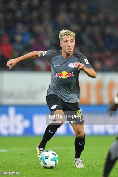Kevin Kampl of Leipzig plays the ball during the Bundesliga match between FC Augsburg and RB Leipzig at WWKArena on September 19 2017 in Augsburg...