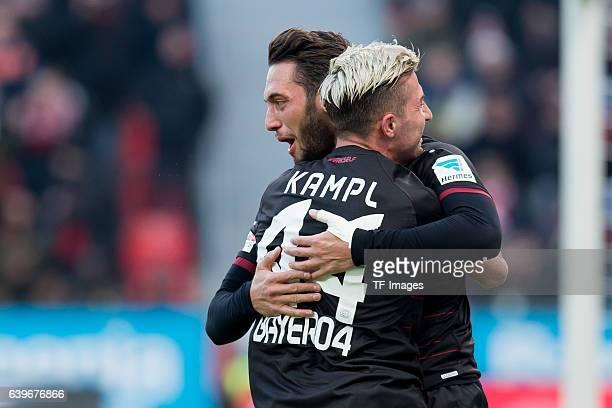 Kevin Kampl of Leverkusen and Hakan Calhanoglu of Leverkusen celebrates his goal during the Bundesliga match between Bayer 04 Leverkusen and Hertha...