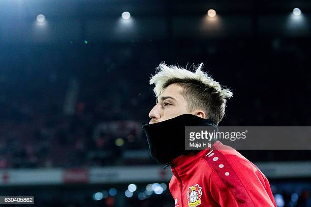 Kevin Kampl of Leverkusen arrives prior the Bundesliga match between 1 FC Koeln and Bayer 04 Leverkusen at RheinEnergieStadion on December 21 2016 in...