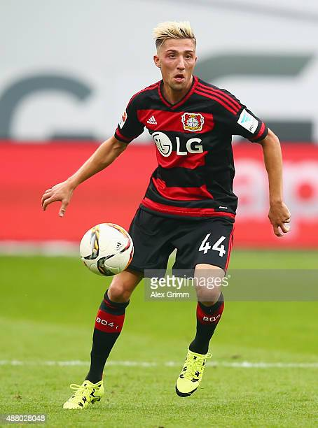 Kevin Kampl of Leverkusen controles the ball during the Bundesliga match between Bayer Leverkusen and SV Darmstadt 98 at BayArena on September 12...