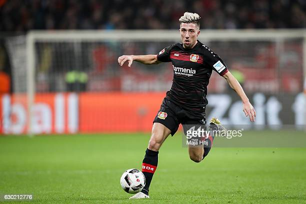 Kevin Kampl of Leverkusen controls the ball during the Bundesliga match between Bayer 04 Leverkusen and FC Ingolstadt 04 at BayArena on December 18...