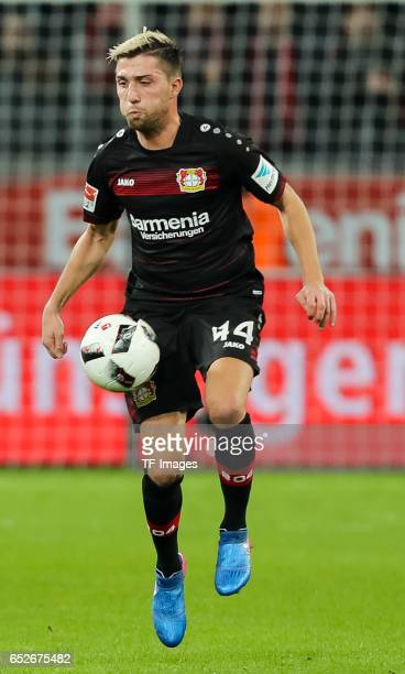 Kevin Kampl of Leverkusen controls the ball during the Bundesliga soccer match between Bayer Leverkusen and Werder Bremen at the BayArena stadium in...