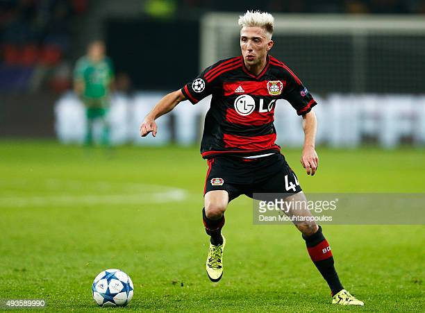 Kevin Kampl of Leverkusen in action during the UEFA Champions League Group E match between Bayer 04 Leverkusen and AS Roma at BayArena on October 20...