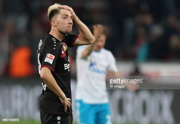 Kevin Kampl of Leverkusen looks dejected during to the Bundesliga match between Bayer 04 Leverkusen and FC Schalke 04 at BayArena on April 28 2017 in...