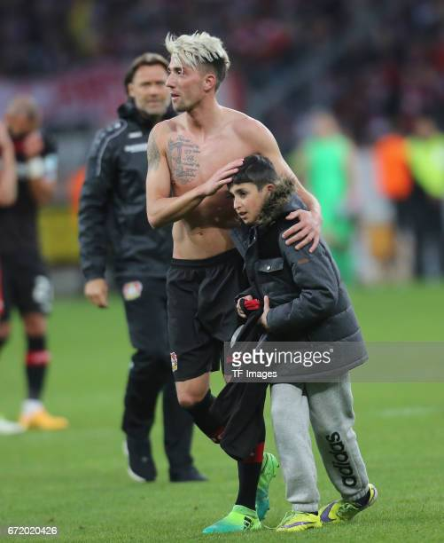 Kevin Kampl of Leverkusen looks on during the Bundesliga match between Bayer 04 Leverkusen and Bayern Muenchen at BayArena on April 15 2017 in...