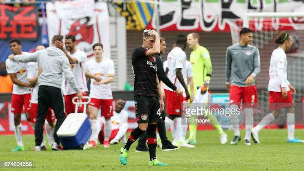 Kevin Kampl of Leverkusen looks on during the Bundesliga match between RB Leipzig and Bayer 04 Leverkusen at Red Bull Arena on April 8 2017 in...
